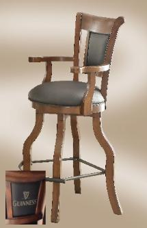 Bar Stool x x Guinness Spectator stool with elongated front foot rest black leather and finished in a distressed Walnut